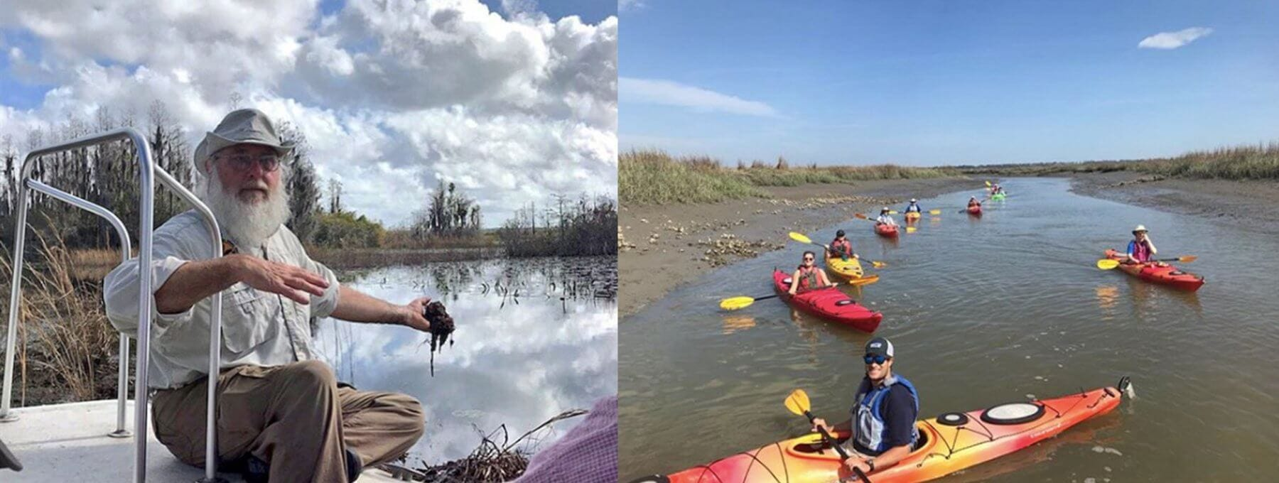 One Hundred Miles works to preserve Georgia's coast; hosts a UGA Marine Extension's Master Naturalist program (left) and encourages those to enjoy the beauty — and protect — water in coastal Georgia (right)./Photo One Hundred Miles (left) and Southeast Adventure Outfitters (right)