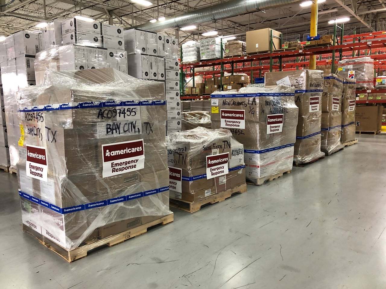 2 tons of supplies in distribution center ready for COVID response