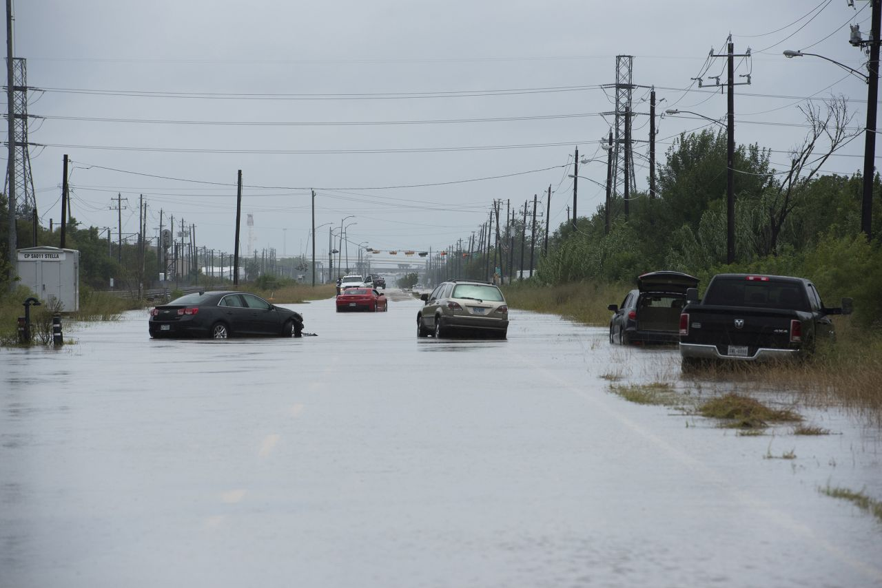 Photo of a flooded road in Beaumont Texas