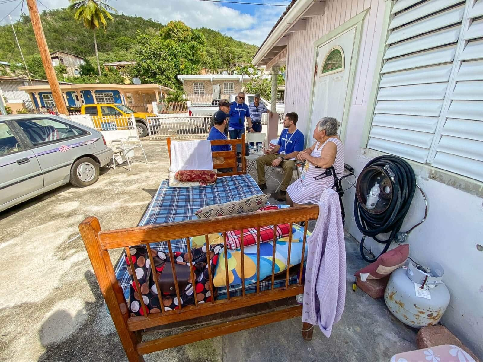 Residents sleeping outside in Guanica