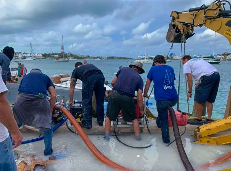 The residents of Hope Town on Elbow Cay worked together to save cargo from a boat that was sinking