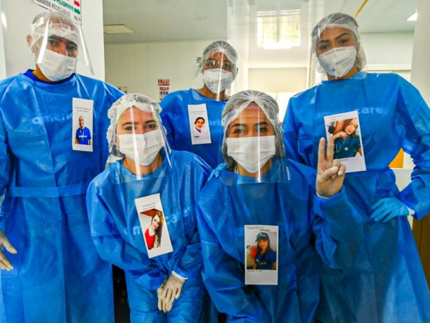 Health workers in PPE at an Americares clinic in Cesar, Colombia, in April 2020. Photo by Joan Guerrero/Americares.