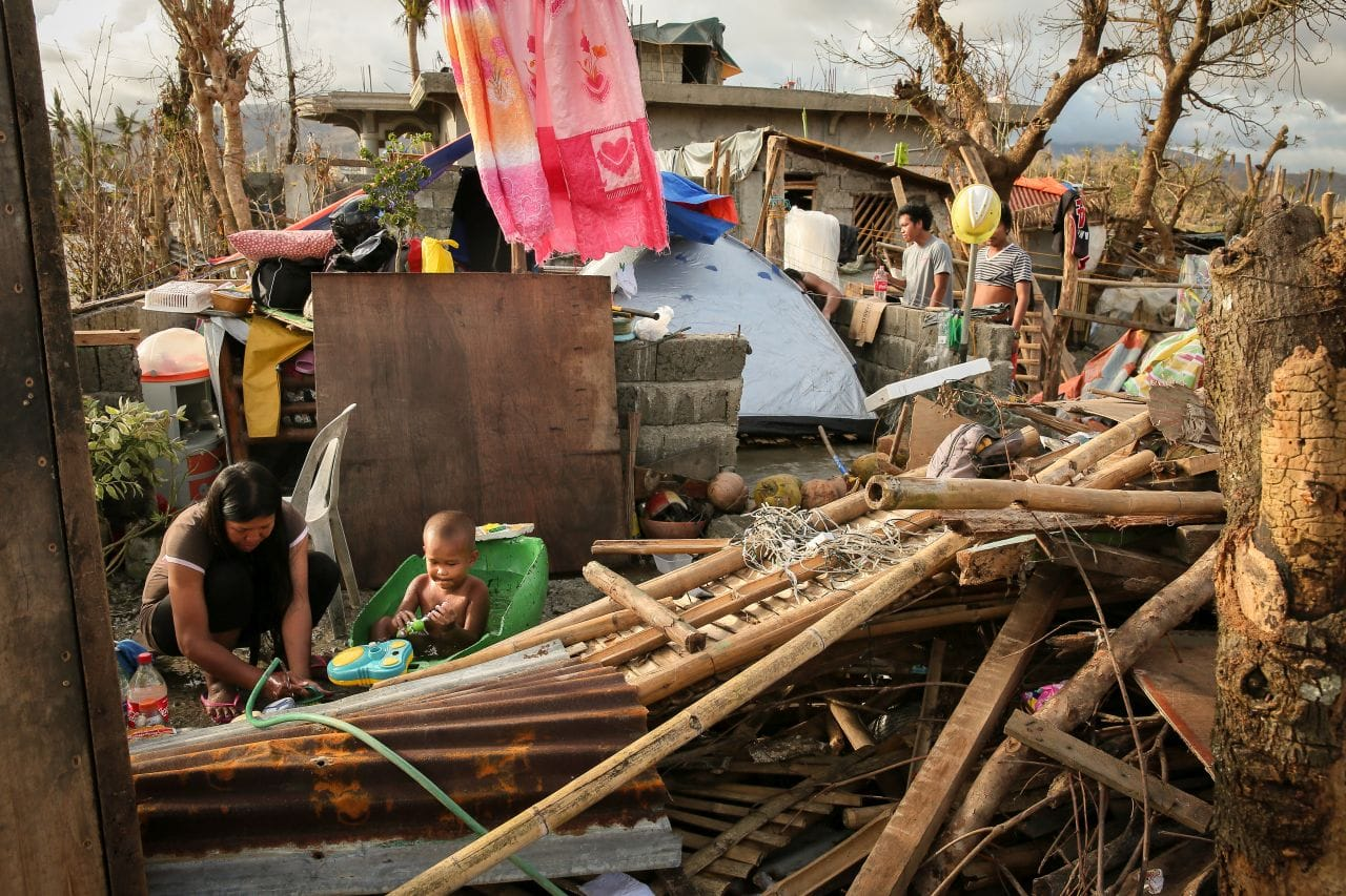 A family getting on with daily life after Typhoon Rolly