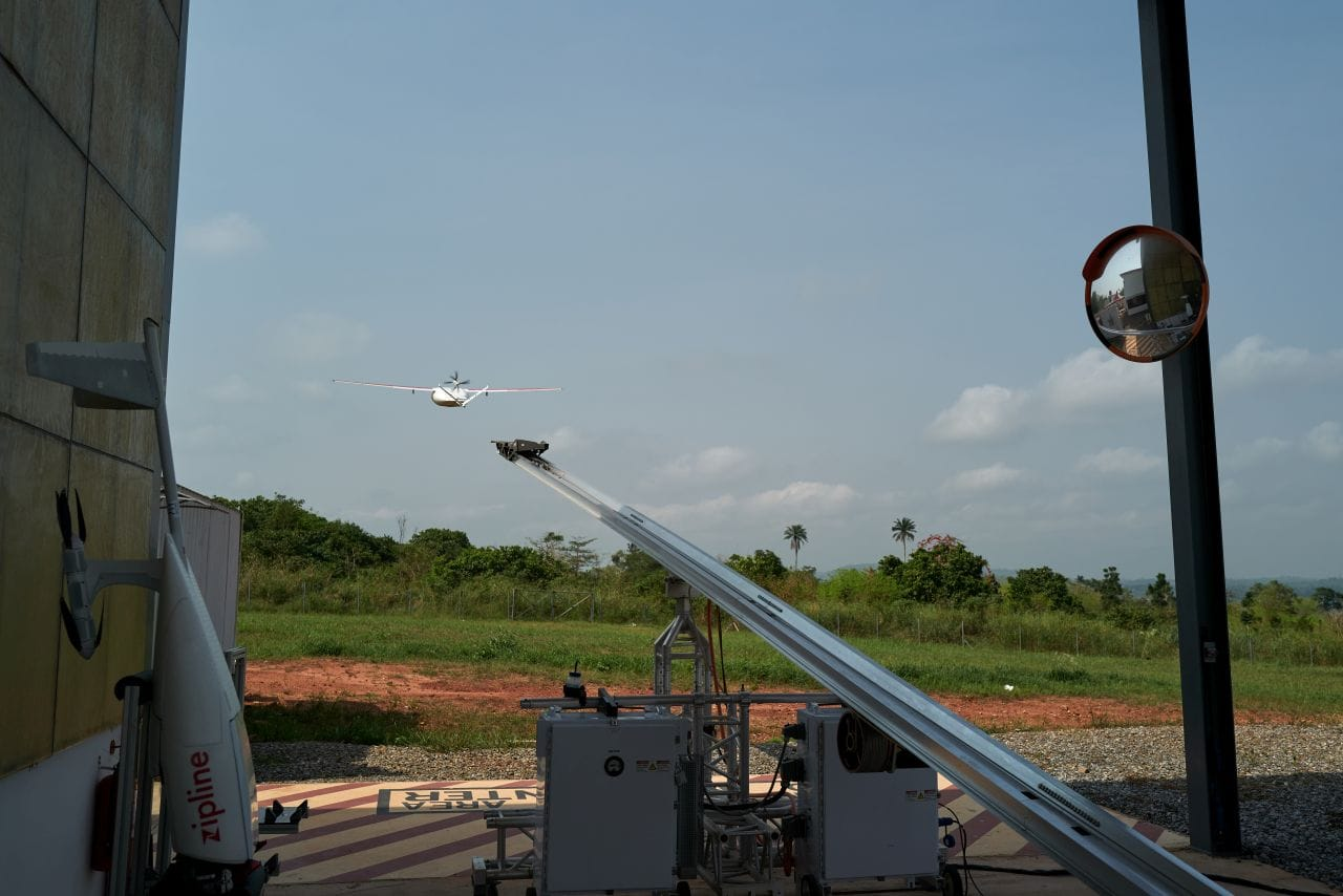 Drone taking flight in Ghana delivering medicines and supplies