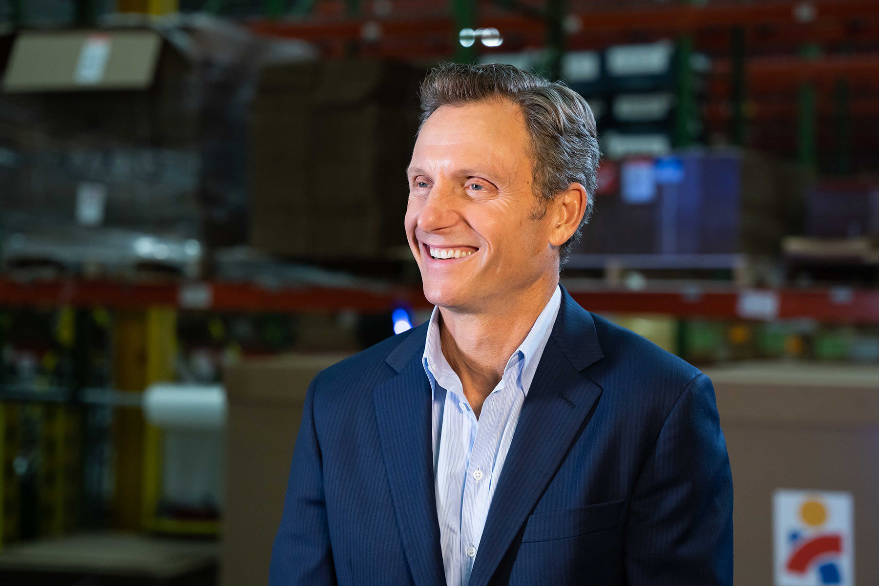 Actor and Americares Board Member Tony Goldwyn co-hosts the Americares Airlift Benefit Livestream at Americares Global Distribution Center in Connecticut on Oct. 2, 2021. Photo by Mike Demas/Americares.