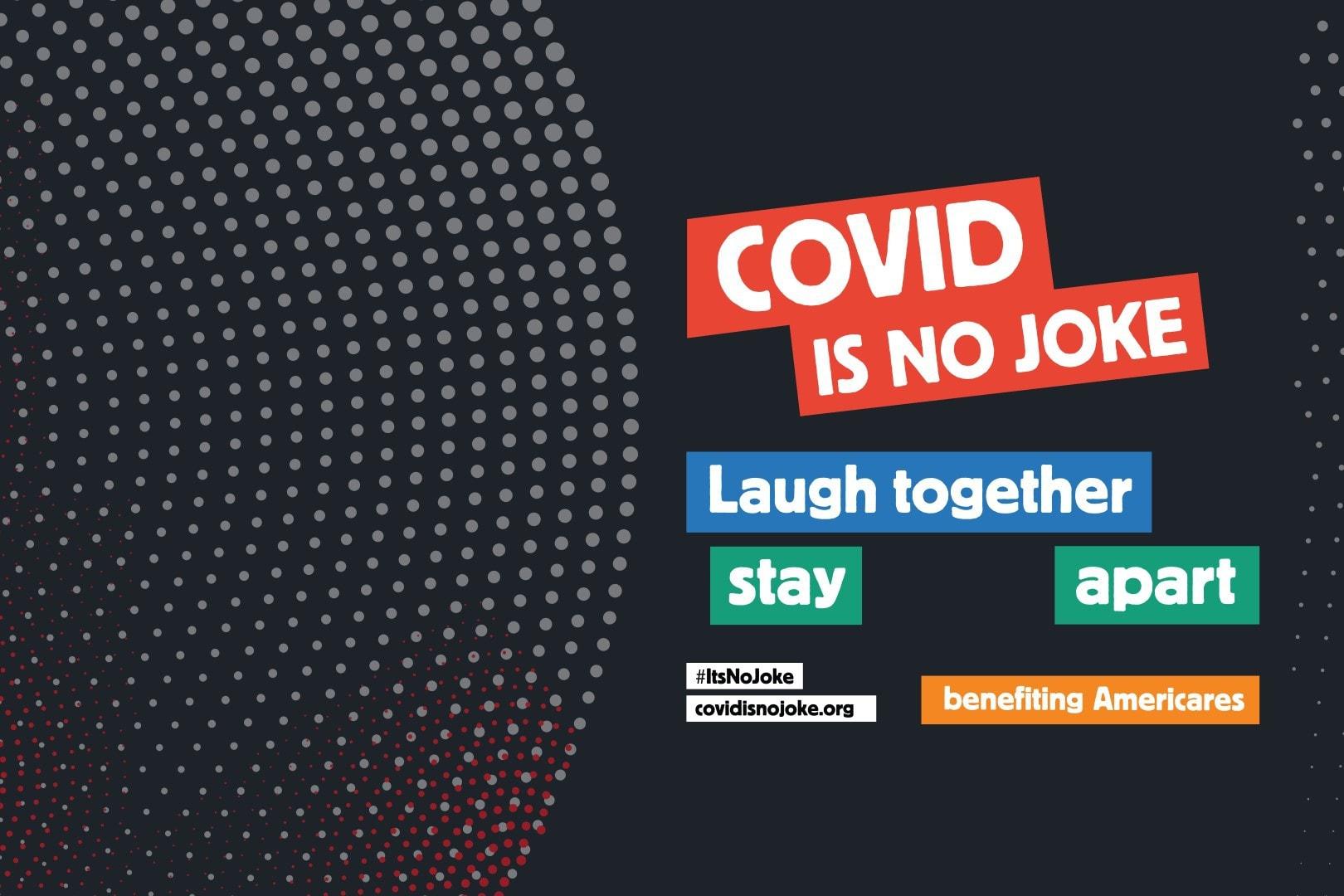 COVID is no Joke comedy fundraiser logo