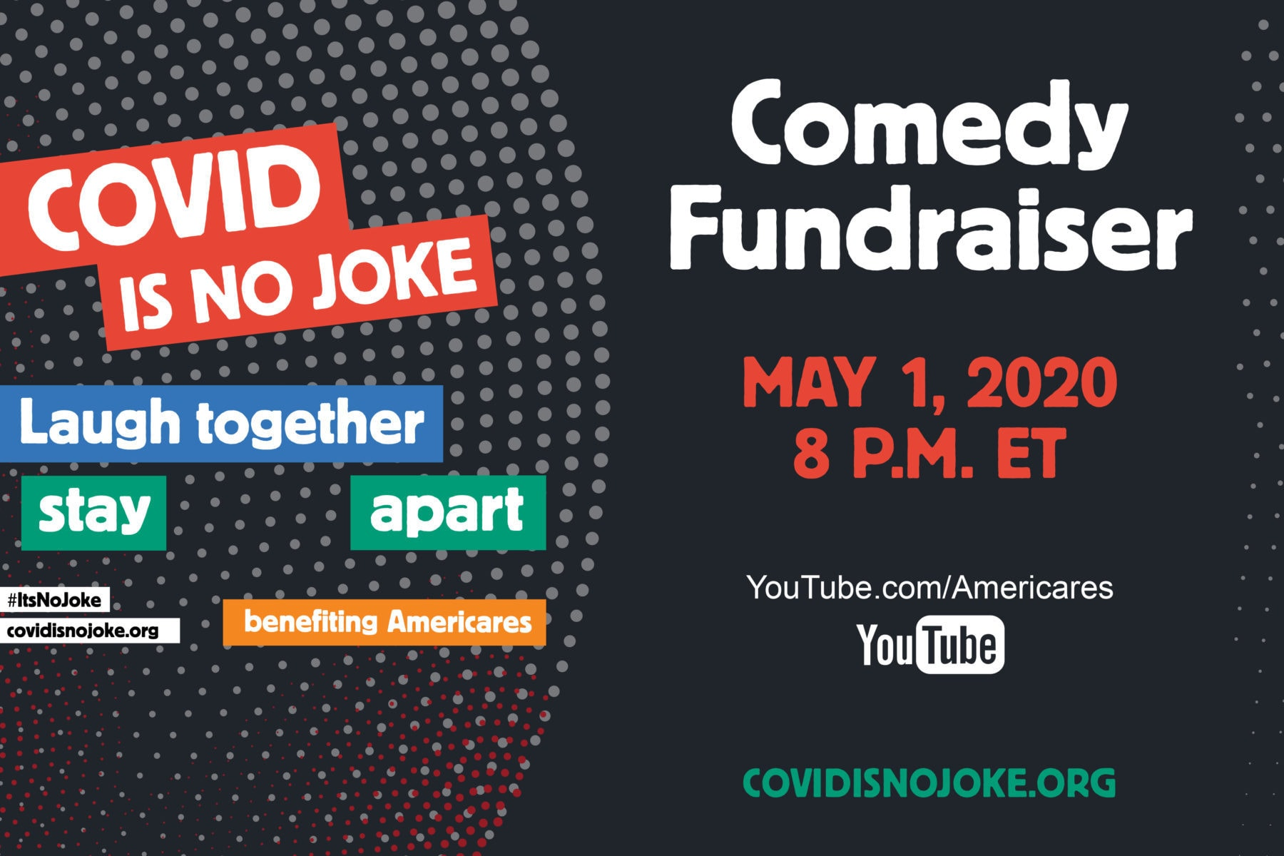 The COVID IS NO JOKE comedy show will be a night of levity, laughter and community in support of frontline health workers—the heroes of the COVID-19 pandemic. The show will air LIVE on covidisnojoke.org and Americares YouTube channel at 8 p.m. EDT, benefitting Americares COVID-19 response