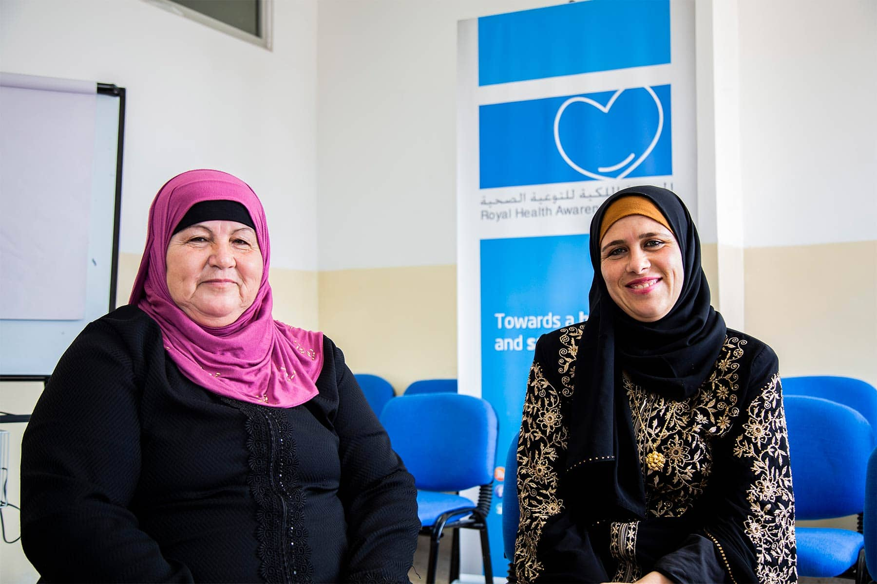 A mother and daughter participating in the study at a clinic in Irbid, Jordan, in 2018. Photo by Kathy Kukula/Americares.