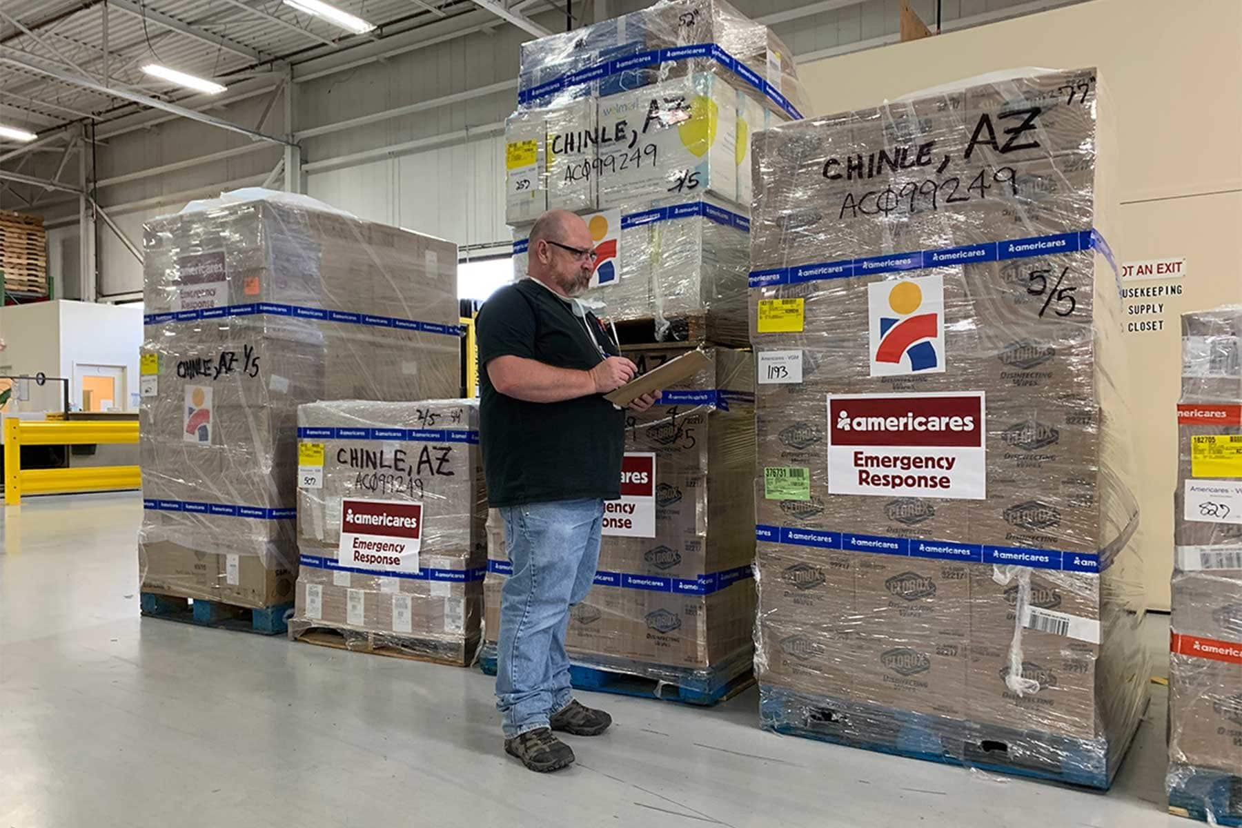Workers at Americares distribution center in Stamford, Conn., prepare shipments of personal protective gear, disinfectants and hygiene products for Native American communities affected by the COVID-19 pandemic in Arizona, New Mexico and Nevada. Photo courtesy of Americares.