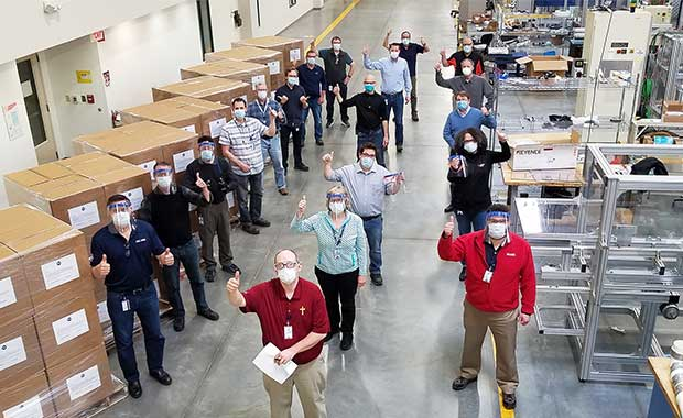 Procter & Gamble is donating face shields including those manufactured in Cincinnati for Americares COVID-19 response. Photo courtesy of Procter & Gamble.