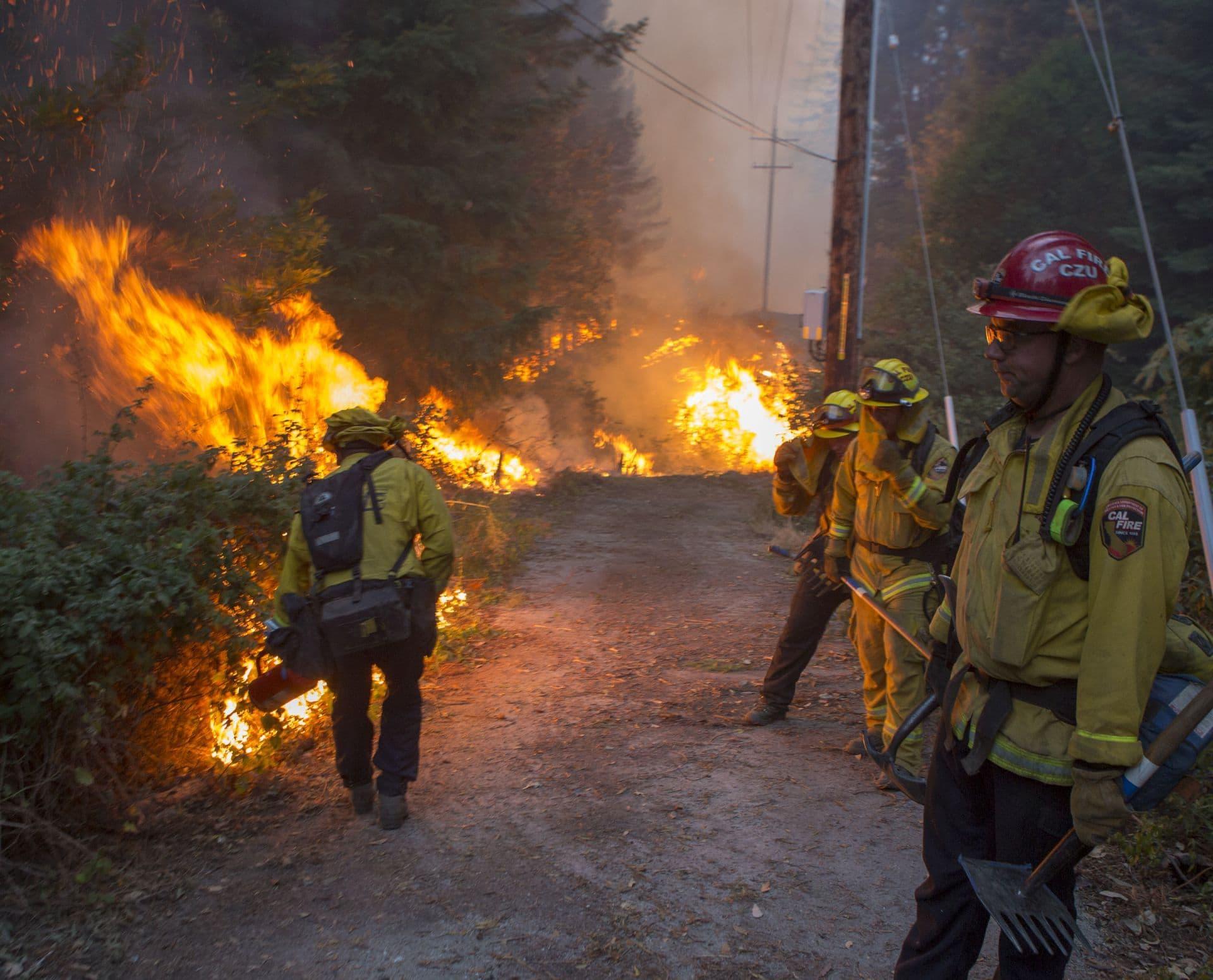 CalFire firefighting team sets a backfire along a dirt road.