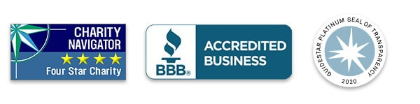 Charity Navigator, BBB, and Goldstar logos