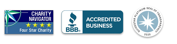 Charity Navigator Four Stars, BBB Accredited Business and Guidestar Platinum Seal of Transparency