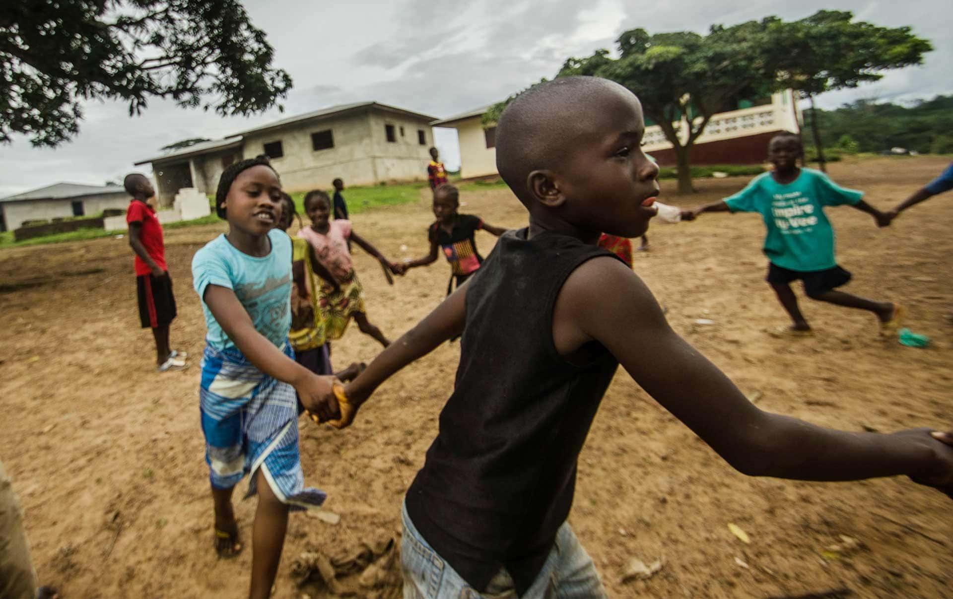 children playing in a village