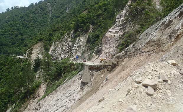 One of the roads in Uttarakhand destroyed by landslides, cutting off many communities.