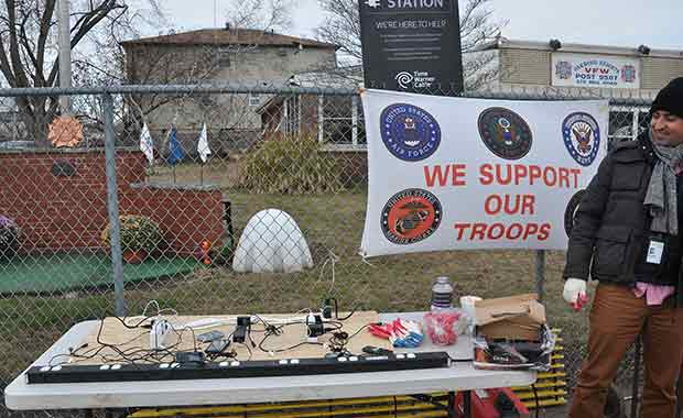 The Veterans of Foreign Wars set up a charging station for Sandy survivors.