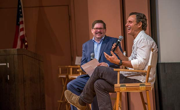 Bruce Fretts, Senior Articles Editor at Closer Weekly with Tony during Spotlight On: Tony Goldwyn. Photo by Americares