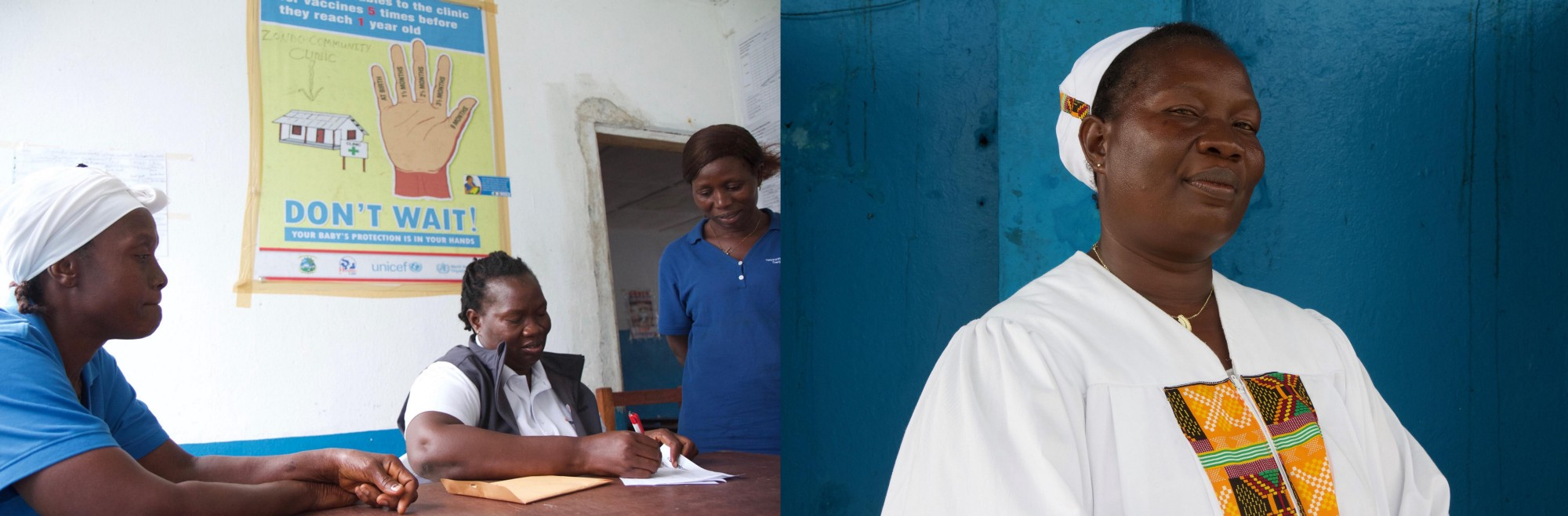 Magdalene Gbatoe, Americares Liberia community liaison officer and registered nurse at our maternal and child health clinic in Zondo (left); Magdalene at Sunday service.