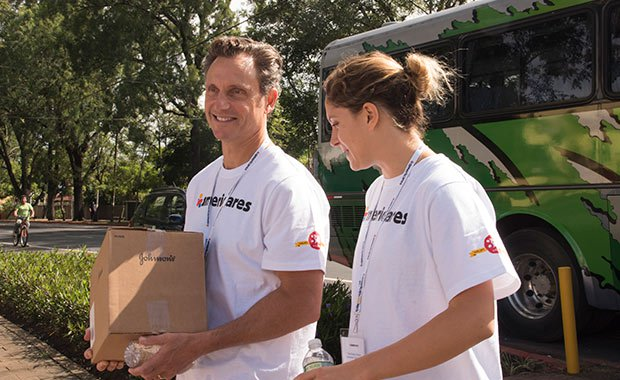 Americares Ambassador Tony Goldwyn and his daughter Tess arrive at a children's home in Guatemala supported by Americares in October 2017.
