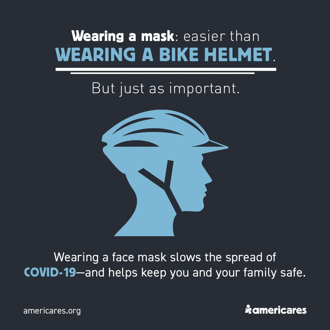Graphic of a bike helmet with some social media content embedded