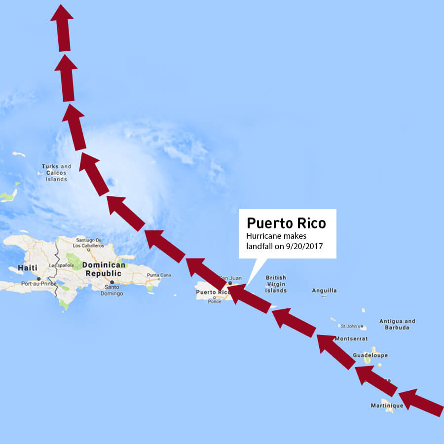 Map outlining the path of Hurricane Maria with large red arrows.