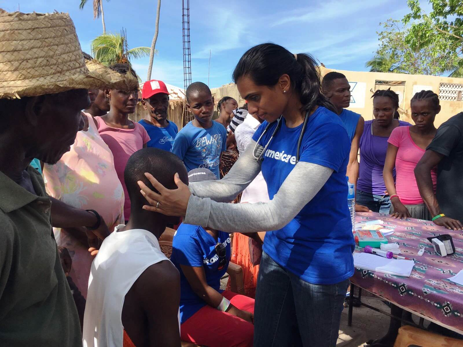 Dr. Julie at work in Haiti with a mobile medical unit