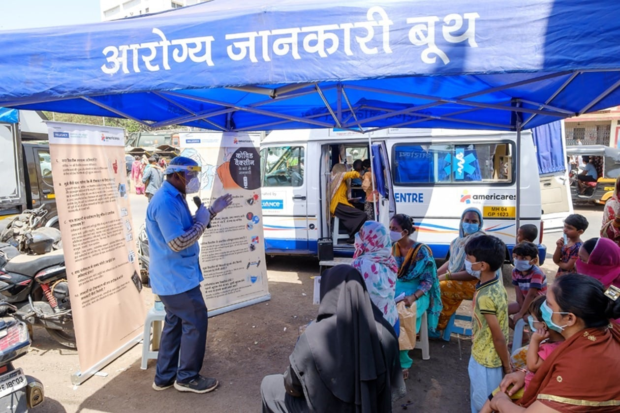 Americares India health worker provides a workshop for patients of the mobile clinics in Mumbai.