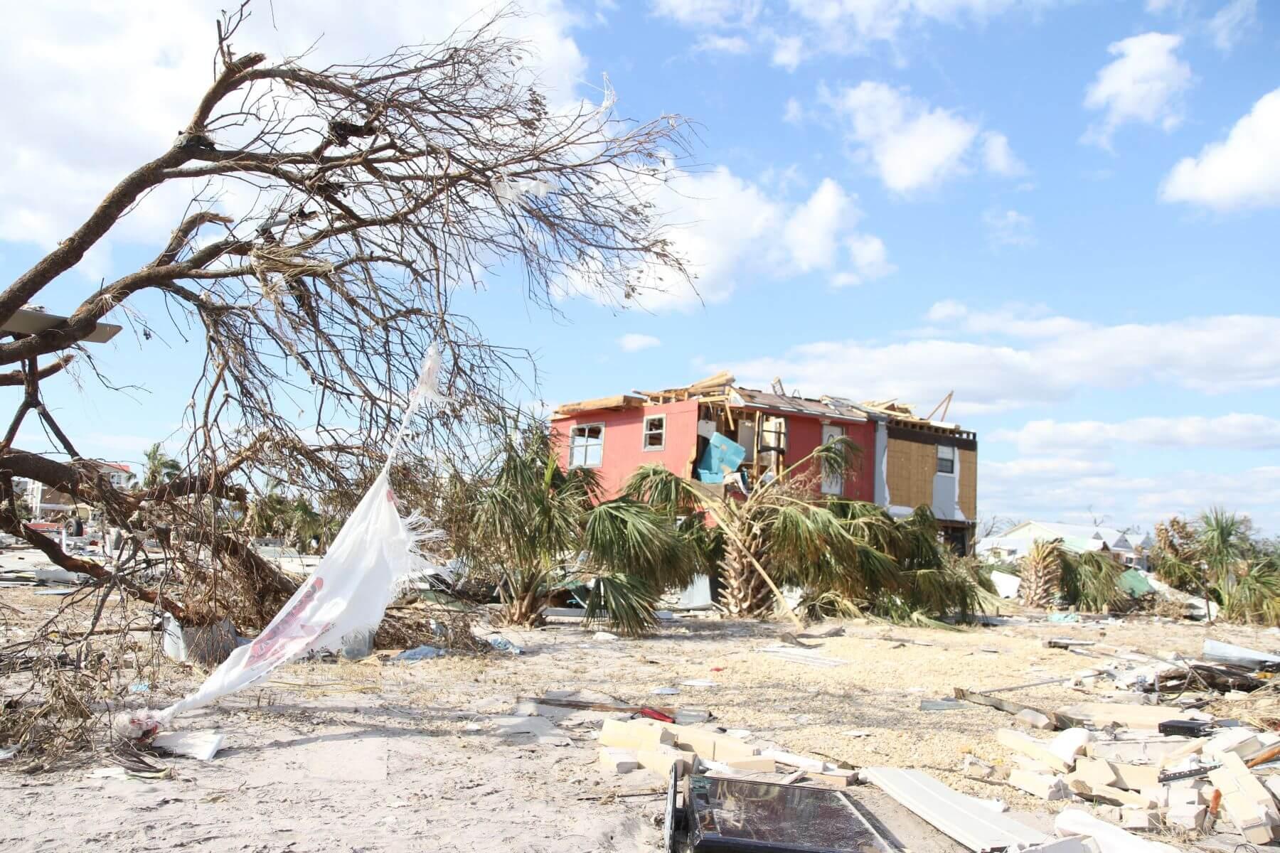 Trees down near a damaged home near the beach.