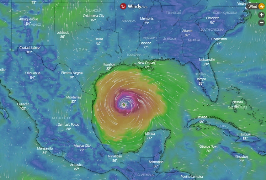 map of Hurricane Delta heading for gulf Coast