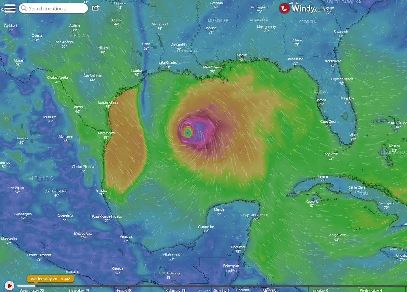 Weather map view of Hurricane Zeta in the Gulf